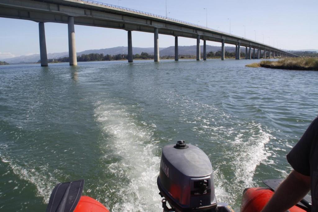 und unter der Autobahnbrücke durch