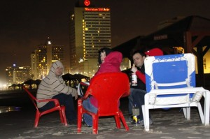 Nachts am Strand von Tel-Aviv